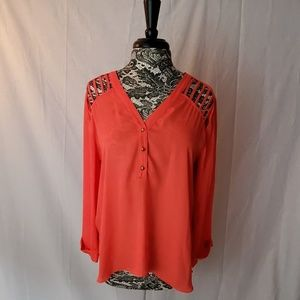 Alya Coral Long Sleeve Top Size L